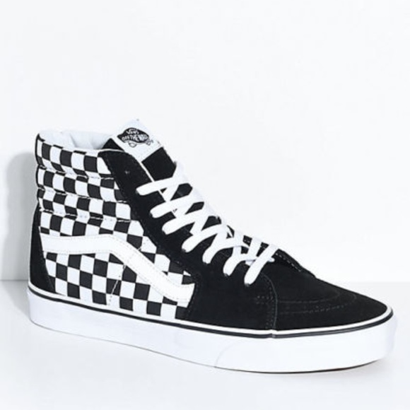 d27b10cb1b Vans Sk8-Hi Black   White Checkered Skate Shoes